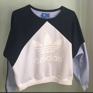 Adidas white navy and light blue sweatshirt